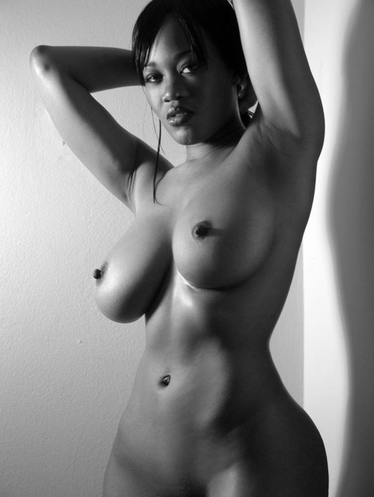 Fashion Busty Wearing Sexy Black Kombidress Stock Photo