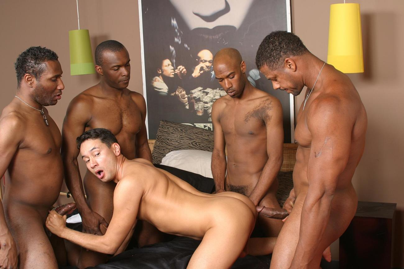 Hot Interracial Gay Gangbang