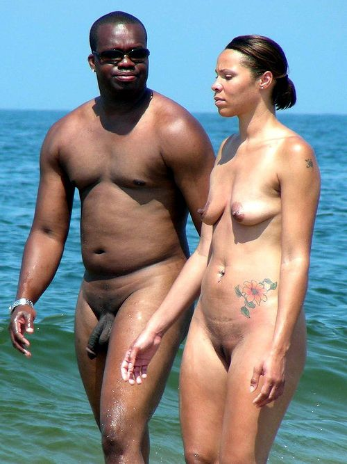 Different photos with amateur black nudists and nude couples from vacation